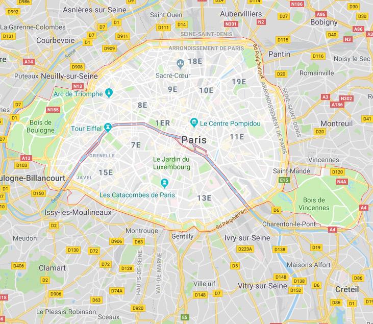 Plan ville de Paris